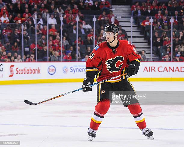 Alex Chiasson of the Calgary Flames in action against the Buffalo Sabres during an NHL game at Scotiabank Saddledome on October 18 2016 in Calgary...