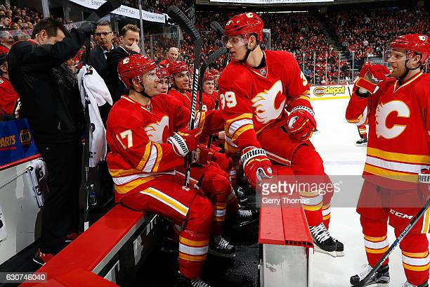 Alex Chiasson of the Calgary Flames sits on the bench during an NHL game against the Airzona Coyotes on December 31 2016 at the Scotiabank Saddledome...