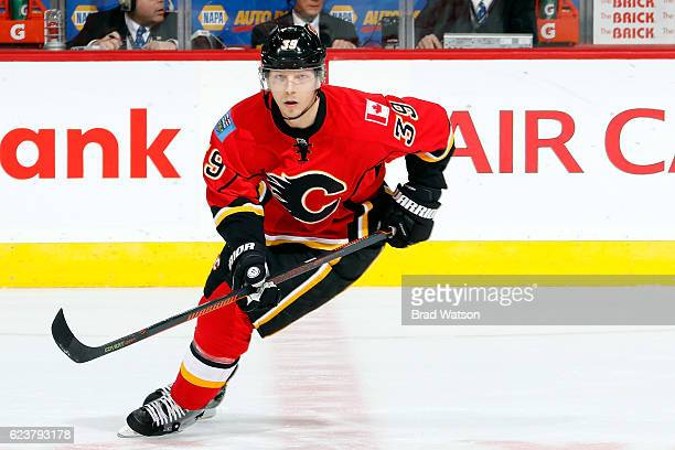 Alex Chiasson of the Calgary Flames skates against the Arizona Coyotes during an NHL game on November 16 2016 at the Scotiabank Saddledome in Calgary...