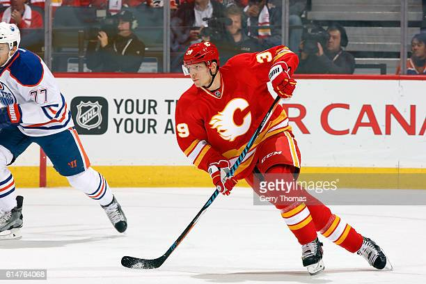 Alex Chiasson of the Calgary Flames skates against the Edmonton Oilers during an NHL game on October 14 2016 at the Scotiabank Saddledome in Calgary...