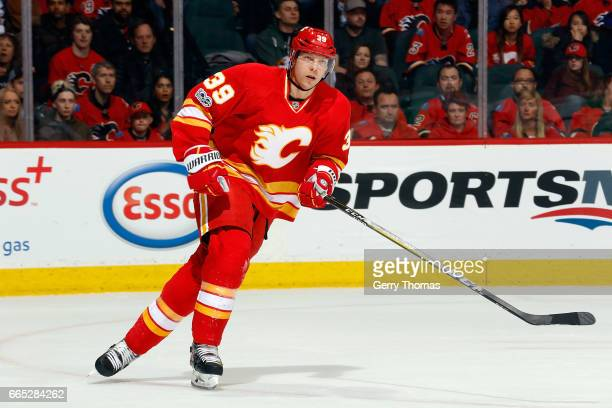 Alex Chiasson of the Calgary Flames skates against the Los Angeles Kings during an NHL game on March 19 2017 at the Scotiabank Saddledome in Calgary...