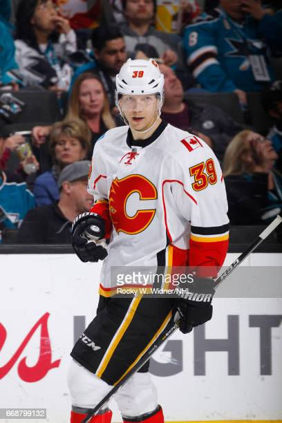 Alex Chiasson of the Calgary Flames skates against the San Jose Sharks at SAP Center on April 8 2017 in San Jose California