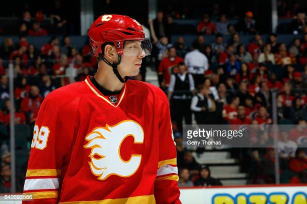 Alex Chiasson of the Calgary Flames skates against the Winnipeg Jets during an NHL game on December 10 2016 at the Scotiabank Saddledome in Calgary...