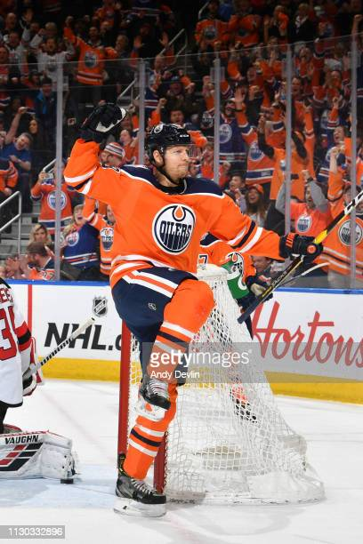 Alex Chiasson of the Edmonton Oilers celebrates after a goal during the game against the New Jersey Devils on March 13 2019 at Rogers Place in...