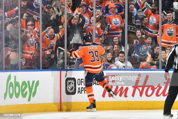Alex Chiasson of the Edmonton Oilers celebrates after scoring a goal during the game against the Pittsburgh Penguins on October 23 2018 at Rogers...