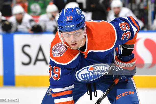 Alex Chiasson of the Edmonton Oilers lines up for a face off during the game against the Los Angeles Kings on November 29 2018 at Rogers Place in...