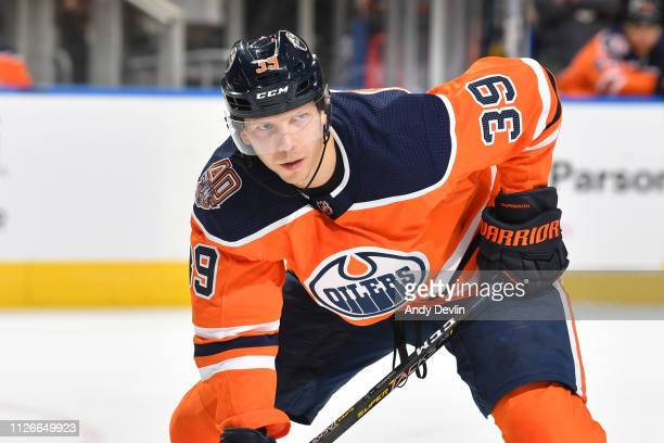 Alex Chiasson of the Edmonton Oilers lines up for a face off during the game against the New York Islanders on February 21 2019 at Rogers Place in...