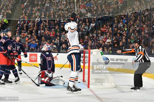 Alex Chiasson of the Edmonton Oilers reacts after scoring a goal during the second period of a game against the Columbus Blue Jackets on March 2 2019...