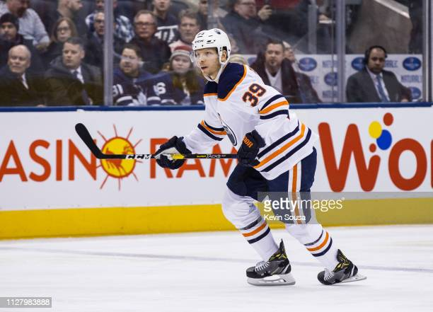 Alex Chiasson of the Edmonton Oilers skates against the Toronto Maple Leafs during the first period at the Scotiabank Arena on February 27 2019 in...