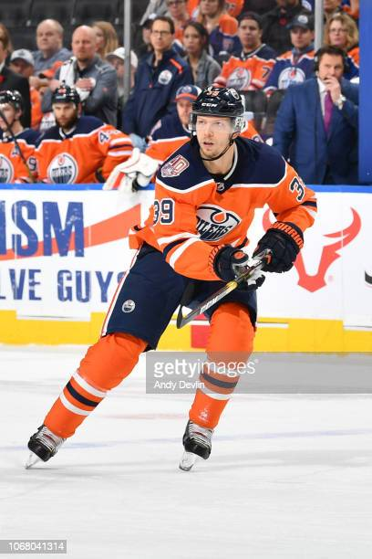 Alex Chiasson of the Edmonton Oilers skates during the game against the Minnesota Wild on October 30 2018 at Rogers Place in Edmonton Alberta Canada