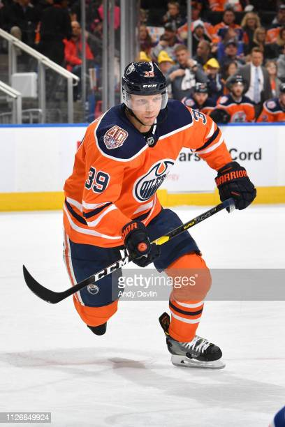 Alex Chiasson of the Edmonton Oilers skates during the game against the New York Islanders on February 21 2019 at Rogers Place in Edmonton Alberta...