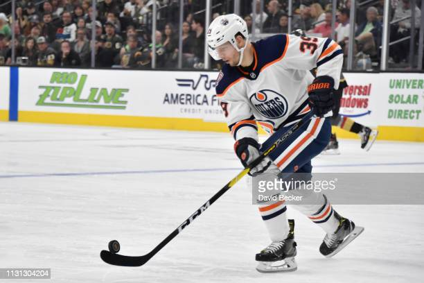 Alex Chiasson of the Edmonton Oilers skates during the third period against the Vegas Golden Knights at TMobile Arena on March 17 2019 in Las Vegas...