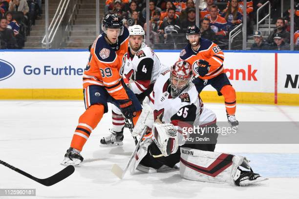 Alex Chiasson of the Edmonton Oilers takes a shot on Darcy Kuemper of the Arizona Coyotes on February 19 2019 at Rogers Place in Edmonton Alberta...