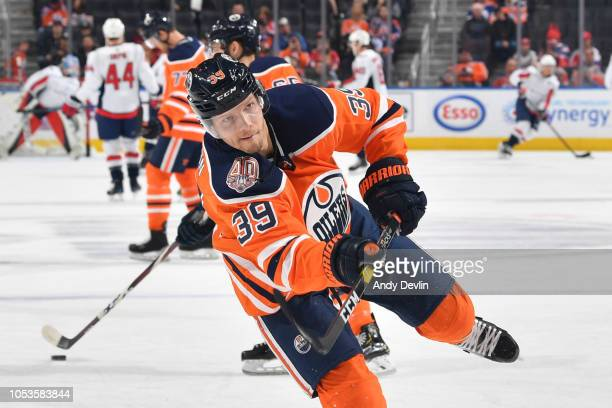 Alex Chiasson of the Edmonton Oilers warms up prior to the game against the Washington Capitals on October 25 2018 at Rogers Place in Edmonton...