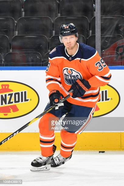 Alex Chiasson of the Edmonton Oilers warms up prior to the game against the Nashville Predators on October 20 2018 at Rogers Place in Edmonton...