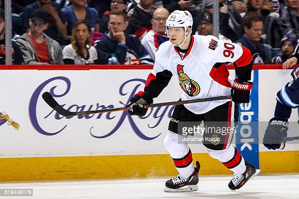 Alex Chiasson of the Ottawa Senators follows the play down the ice during first period action against the Winnipeg Jets at the MTS Centre on March 30...