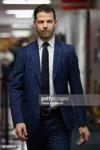 Alex Chiasson of the Washington Capitals arrives for Game Four of the 2018 NHL Stanley Cup Final to play against the Vegas Golden Knights at Capital...