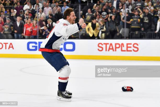 Alex Chiasson of the Washington Capitals celebrates after defeating the Vegas Golden Knights in Game Five of the Stanley Cup Final during the 2018...