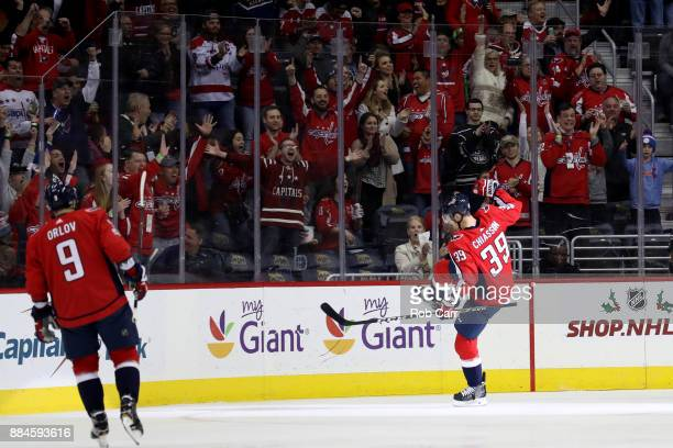 Alex Chiasson of the Washington Capitals celebrates after scoring the  second goal of the first period. Washington Capitals v Nashville Predators 737ccff89099