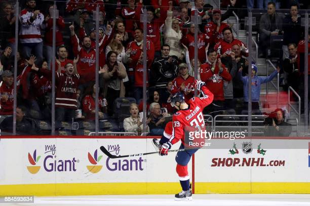 Alex Chiasson of the Washington Capitals celebrates after scoring the second goal of the first period against the Columbus Blue Jackets at Capital...