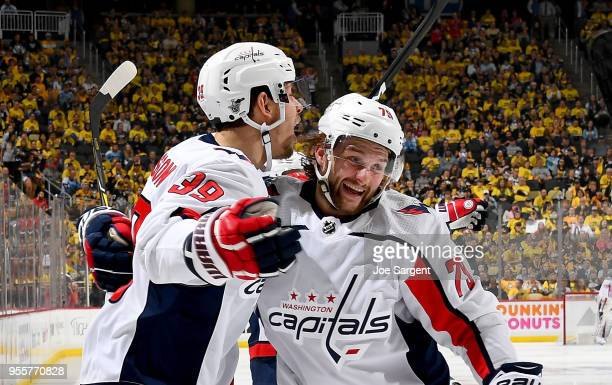 Alex Chiasson of the Washington Capitals celebrates his second period goal against the Pittsburgh Penguins in Game Six of the Eastern Conference...