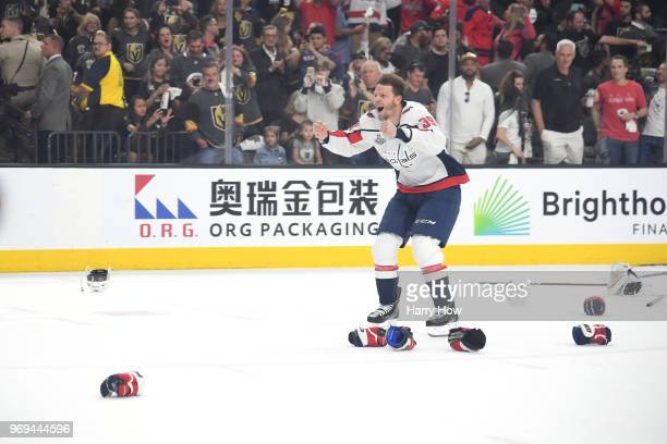 Alex Chiasson of the Washington Capitals celebrates his team's 43 win over the Vegas Golden Knights to win the Stanley Cup in Game Five of the 2018...