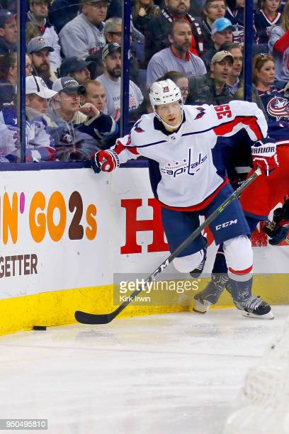 Alex Chiasson of the Washington Capitals controls the puck in Game Four of  the Eastern Conference 72f83a729b0c