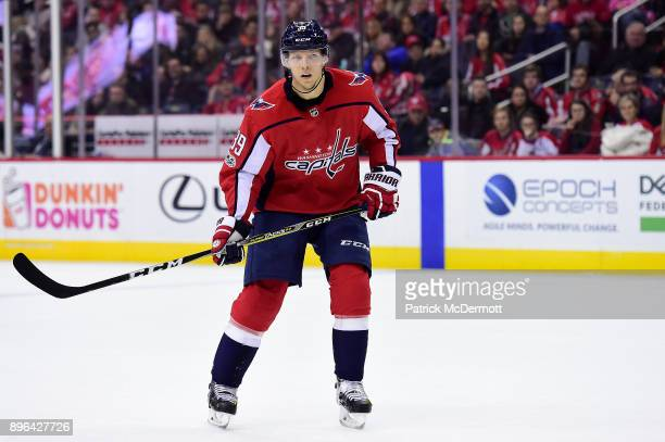 Alex Chiasson of the Washington Capitals in action in the second period against the Anaheim Ducks at Capital One Arena on December 16 2017 in...
