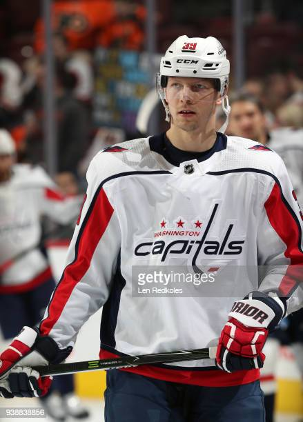 Alex Chiasson of the Washington Capitals looks on during warmup against the Philadelphia Flyers on March 18 2018 at the Wells Fargo Center in...