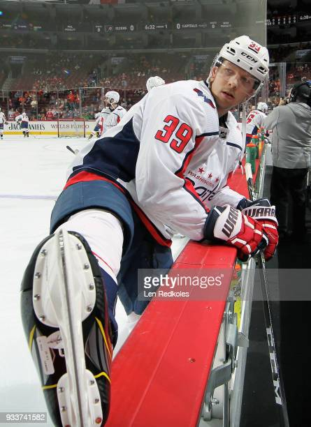 Alex Chiasson of the Washington Capitals looks on while stretching during warmups prior to his game against the Philadelphia Flyers on March 18 2018...