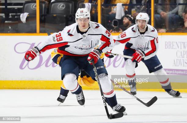 Alex Chiasson of the Washington Capitals skates against the Nashville  Predators during an NHL game at 6613179bbef5