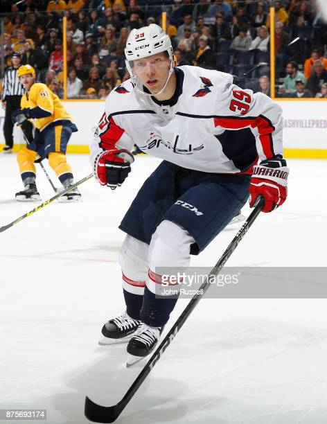 Alex Chiasson of the Washington Capitals skates against the Nashville Predators during an NHL game at Bridgestone Arena on November 14 2017 in...