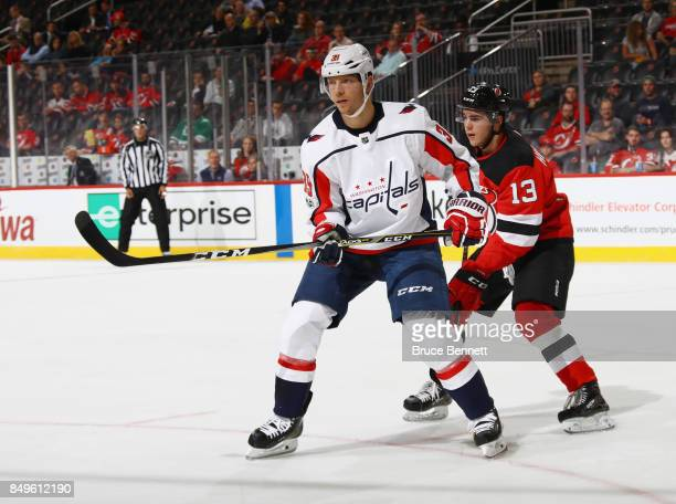 Alex Chiasson of the Washington Capitals skates against the New Jersey Devils during a preseason game at the Prudential Center on September 18 2017...