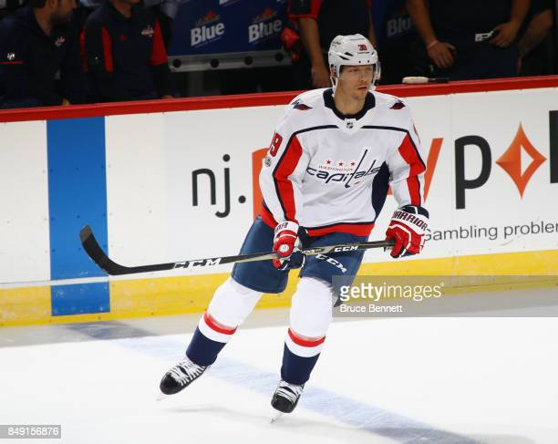 Alex Chiasson of the Washington Capitals skates in warmups prior to the game against the New Jersey Devils at the Prudential Center on September 18...