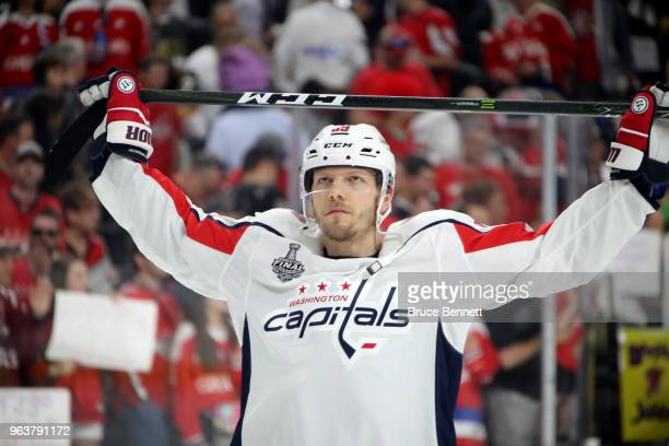 Alex Chiasson of the Washington Capitals skates in warmups prior to the game against the Vegas Golden Knights in Game Two of the 2018 NHL Stanley Cup...