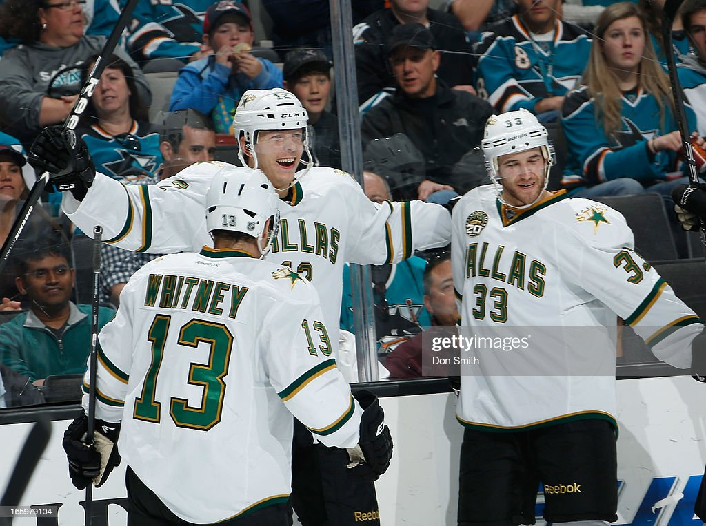 Alex Chiasson #12, Ray Whitney #13 and Alex Goligoski #33 of the Dallas Stars celebrate a goal against the San Jose Sharks during an NHL game on April 7, 2013 at HP Pavilion in San Jose, California.
