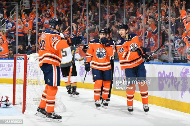 Alex Chiasson Ryan NugentHopkins and Leon Draisaitl of the Edmonton Oilers celebrate after a goal during the game against the Vegas Golden Knights on...