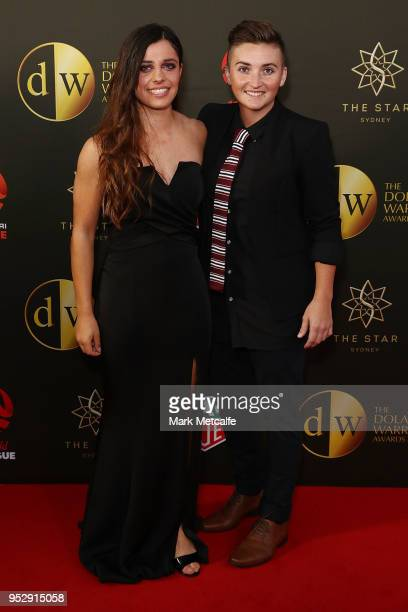 Alex Chidiac and Rachel Quigley arrive ahead of the FFA Dolan Warren Awards at The Star on April 30 2018 in Sydney Australia