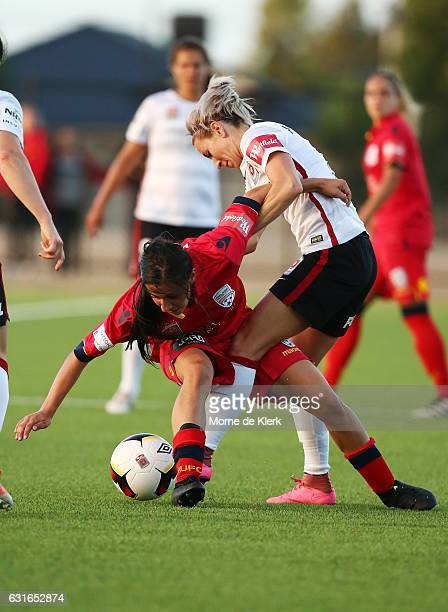 Alex Chidiac of Adelaide United competes with Erica Halloway of Western Sydney during the round 12 WLeague match between Adelaide United and the...