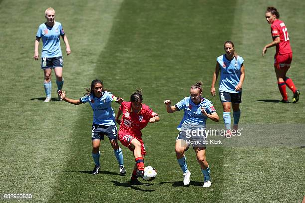 Alex Chidiac of Adelaide United wins the ball during the round 14 WLeague match between Adelaide United and Sydney FC at Coopers Stadium on January...