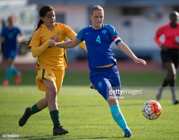 Alex Chidiac of Australia and Mandy Van Den Berg of The Netherlands during the Group C 2017 Algarve Cup match between Australia Women and Netherlands...