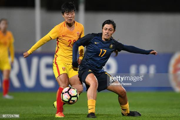 Alex Chidiac of Australia competes for the ball with Ren Ruixin of China during the Women's Algarve Cup Tournament match between Australia and China...