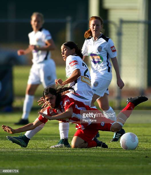 Alex Chidiac of City goes to ground after a challenge by Samantha Kerr of the Glory during the round three WLeague match between Perth Glory and...