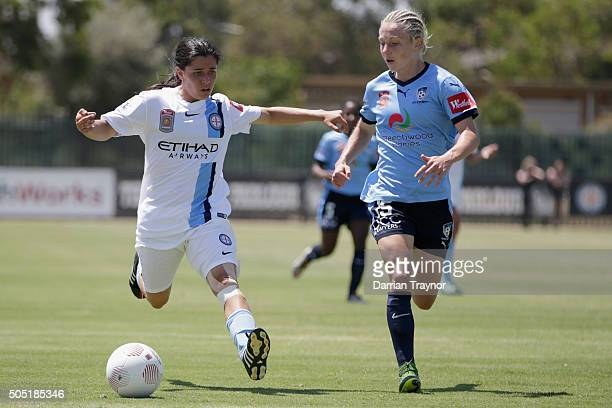 Alex Chidiac of Melbourne City and Elizabeth Ralston of Sydney FC compete during the round 14 WLeague match between Melbourne City FC and Sydney FC...