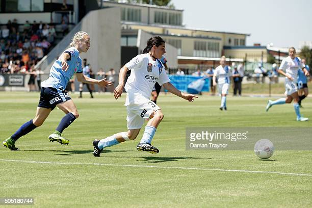 Alex Chidiac of Melbourne City drives the ball forward during the round 14 WLeague match between Melbourne City FC and Sydney FC at CBSmith Reserve...
