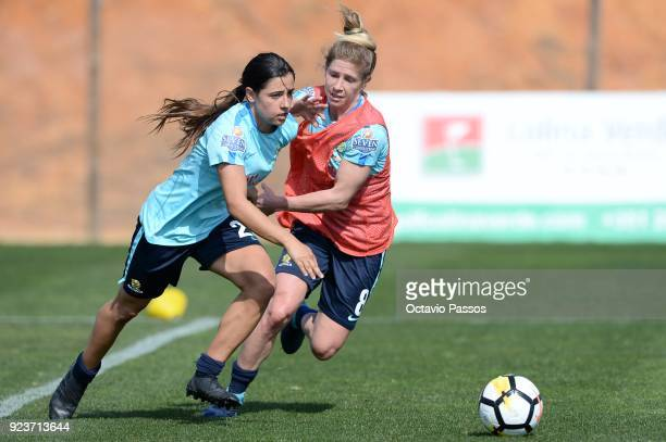 Alex Chidiac of the Matildas competes for the ball with Elise KellondKnight during a Matildas training session on February 24 2018 in Faro Portugal