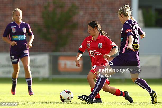 Alex Chidiac of United controls the ball during the round 13 WLeague match between Perth Glory and Adelaide United at Dorrien Gardens on January 22...