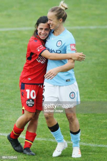 Alex Chidiac of United hugs friend Aivi Luik of the City after their draw during the round six WLeague match between Melbourne City and Adelaide...