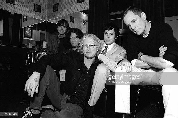Alex Chilton and Big Star with Mike Mills of REM backstage at The Fillmore San Francisco California on March 02 2002 LR Jody Stephens Jon Auer Mike...
