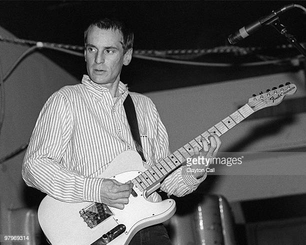 Alex Chilton from Big Star performing with a fender telecaster at the Berkeley Square in Berkeley CA in November 1985